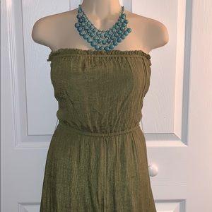 Dresses & Skirts - Strapless olive green dress